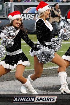 NFL Raiders Cheerleaders in Christmas Costumes