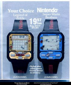 """"""" Ad for the Legend of Zelda and Super Mario Brothers digital watch games by Nintendo, 1989.  Source: https://openpics.aerobatic.io/  """""""