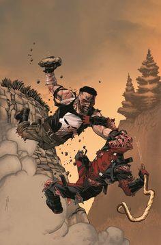 #Deadpool #Fan #Art.         Deadpool vs. The Punisher (2017) #4 (of 5) Cover) By: Declan Shalvey. ÅWESOMENESS!!!™ ÅÅÅ+