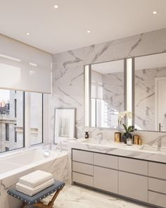 70 Vestry | Carrera Marble | Modern Marble Bathroom | Large Window Over Built in Bathtub | Mechanical Window Covering