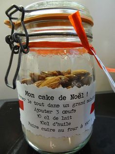 *by Missfil* - A la table de Missfil ! - Projects to try - noel Mason Jar Meals, Meals In A Jar, Chocolate Fruit Cake, Gourmet Gifts, Jar Gifts, Diy Kits, Homemade Gifts, Coco, Food And Drink