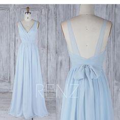 Brautjungfernkleid Hellblau Chiffon Kleid Brautkleid Mit Schärpe Lange Doppelgurte Geraffte V-Ausschnitt Backless Brautjungfernkleider ° º º º º ¨¨¨¨¨ ° º º º ¨¨¨¨¨ ° º º º ¨¨¨¨¨ °° º º ° ¨¨¨¨¨¨ ° º º º º ¨¨¨¨ Hinweis: Die tatsächliche . Backless Bridesmaid Dress, Light Blue Bridesmaid Dresses, Blue Chiffon Dresses, Wedding Dress Sash, Backless Maxi Dresses, Prom Dresses, Formal Dresses, Fall Dresses, Long Dresses