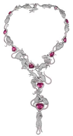 Chopard 18K white gold rat necklace featuring intertwined rats in white, grey and pink diamonds with heart shaped rubellites