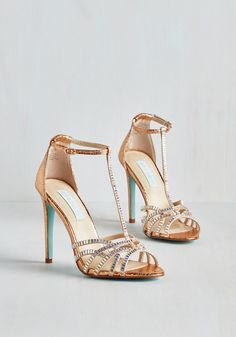 It's Never Too Scintillate Heel by Betsey Johnson - Gold, Solid, Rhinestones, Special Occasion, Prom, Party, Cocktail, Girls Night Out, Luxe, High, Best, T-Strap, Faux Leather