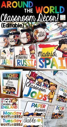 Editable Around the World Classroom Decor! I love the large character cutouts and teacher binder!