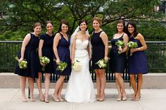 Bridesmaids in pick-your-own navy. Looks pretty good! Courtney and Clay's River East Art Center Wedding – Part 1
