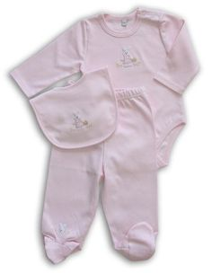 New Born Baby Girl Pink Bunny Onesie and Footsie Only.