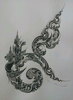 Castle Wedding Cake, Sak Yant Tattoo, Thai Design, Thai Tattoo, Thai Art, Art Drawings, Tattoo Designs, Gothic, Culture