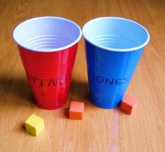 Place Value Toss Game-Toss 9 shapes into the cups from about 3ft away.  Count the shapes in each cup.  Ex. 4 tens and 2 ones=42