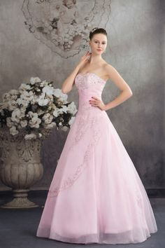 osell wholesale dropship Graceful Embroidered & Beading Sweetheart Organza Prom Dress $98.39