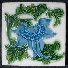 Art Nouveau Tile by Majolica Antique Tiles, Vintage Tile, Antique Art, Vintage Art, Motifs Art Nouveau, Azulejos Art Nouveau, Art Nouveau Tiles, Art Nouveau Design, Jugendstil Design