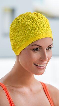6dd2347329a yellow latex rubber bathingcap by FASHY Hair Cover