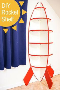 DIY Rocket Bookshelf for Space Themed Bedroom. This rocket bookshelf is perfect for a space themed bedroom! Easy to make with just one sheet of plywood. Get the free woodworking plans and tutorial at The Handyman's Daughter! Woodworking For Kids, Woodworking Plans, Woodworking Projects, Woodworking Furniture, Woodworking Machinery, Woodworking Articles, Youtube Woodworking, Workbench Plans, Woodworking Workshop