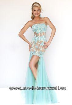 Mieder Vokuhila Abend Kleid in Hell Blau Vorne Kurz Hinten Lang