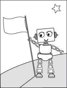 Kleurplaten Robots.Robot Vlag Kleurplaat Robots Pinterest Robot