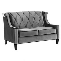 "Tufted velvet loveseat.Product: Loveseat  Construction Material: Wood and velvetColor: GrayFeatures:     Diamond button-tufting  High-back silhouette  Contemporary style Dimensions: 38"" H x 60"" W x 35"" D          Cleaning and Care: Keep furniture out of direct sunlight to avoid sun and light damage and color bleaching.  Clean wood with a soft, dry cloth to remove dust."