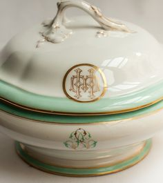 Antique French Porcelain Monogrammed Tureen