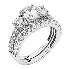 14K White Gold Round-cut with Side Stone Top Quality Shines CZ Cubic Zirconia 2.5 CT Equivalent Ladies Wedding Engagement Ring & Wedding Band 2 Two Pieces Set The World Jewelry Center. $443.00. Promptly Packaged with Free Gift Box and Gift Bag. Simply Elegant. High Polished Finish
