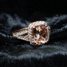 Rectangular Cushion Cut Morganite Diamond Halo Engagement Ring in 14k Rose Gold Morganite Engagement Ring Cushion Halo Pink Gold Bridal