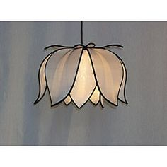 White lotus lamp: Made with a durable steel frame, high-quality silk and hangs from a 12-foot black light cord, the Om Gallery Hanging Blooming Lotus lamp is the perfect complement to any room in the house $86.99 #LAMP