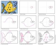 Draw a Cartoon Fish. Download my PDF tutorial and draw your own. #cartoonfish #howtodraw #directdraw