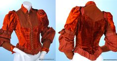"Fancy Dress or Event Dress (Dinner, Opera, etc.) Bodice, circa 1890 via eBay | Measurements: Bust - 34"", Waist - 26"", length - 20"" to the front point, sleeves - 22"", and shoulders - 13"" This is listed as a fancy dress bodice, but the quality of materials and style are just as likely to be found in dinner and visiting dresses of the era, especially for an upper class lady."