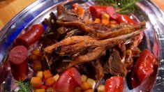 Øldampet pinnekjøtt med rotgrønnsaker, saus og potetmos