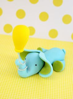 Fondant Cake Topper Elephant with balloon. Will use this for a baby shower