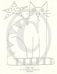 Hungarian Embroidery Patterns Star Cat Embroidery ePattern - x primitive embroidery - stitchery epattern. Epattern includes DMC color list and simple instructions. Broderie Primitive, Primitive Embroidery, Primitive Stitchery, Hungarian Embroidery, Primitive Patterns, Folk Embroidery, Paper Embroidery, Learn Embroidery, Embroidery Stitches