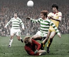 Dixie Deans, Alan Rough, Kenny Dalglish and Alan Hansen. Celtic v Partick Thistle.