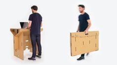 Refold's standing desk is portable and made out of cardboard.