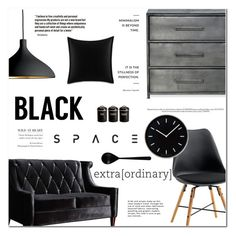 """""""Black Space"""" by makeupgoddess ❤ liked on Polyvore featuring interior, interiors, interior design, home, home decor, interior decorating, Armen Living, Pablo, Betsey Johnson and Typhoon"""