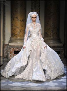 haute couture, veil, wedding dress, zuhair murad - in spiring . Wedding Dress With Veil, Beautiful Wedding Gowns, Wedding Attire, Beautiful Dresses, Lace Wedding, Gown Wedding, Copper Wedding, Paris Wedding, Zuhair Murad Dresses