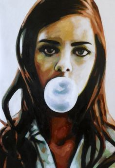 "Saatchi Art Artist: thomas saliot; Oil 2013 Painting ""bubble gal(sold)"""