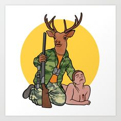 Buy Deer Hunter Art Print by memememelinda. Worldwide shipping available at Society6.com. Just one of millions of high quality products available.