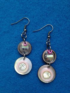 Pretty in Pink Dangle Button and Bead Earrings, Shimmering Shell Button Drop Earrings, Creative Earrings with Buttons, Feminine Drop Earring by CatterflyStudios on Etsy