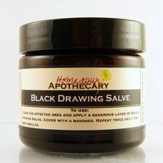 Handmade Black Drawing Salve for bug bites, stings, small infections, splinters & boils. Made with activated charcoal, clay, honey, herbs & essential oils.