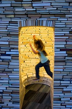 An interactive 'book castle' exhibit at the New Children's Museum.