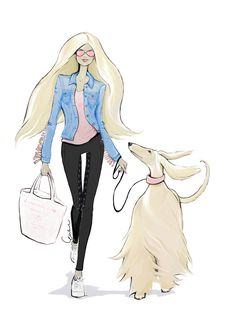 Fashion illustration for fashion and lifestyle brand House of Horses Helsinki by Erika Reponen Art. Blonde woman and an afghan hound. HoH Dance With Me Denim Jacket, HoH Unicorn Grip leggins, HoH Boxing Top, HoH Glitter Tote bag, Pink Ray Ban sunglasses. Pink Ray Bans, Afghan Hound, Girl And Dog, Blonde Women, Cool Names, Girls Wear, Helsinki, Personal Style, Aurora Sleeping Beauty