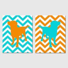 Modern Labrador Puppy Dog Duo  Set of Two 11x14 Chevron by Tessyla, $48.50