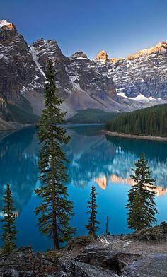 """Sentries of Moraine Lake"" ~ Moraine Lake is a glacially-fed lake in Banff National Park, 14 kilometres outside the Village of Lake Louise, Alberta, Canada"