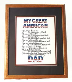 Patriotic Wall Hanging - My Great American Dad on Etsy, $24.00