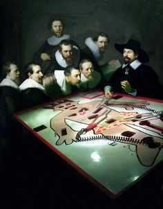 Modern day Anatomy Lesson of Dr Nicolaes Tulp - Rembrandt by John Cooper (2009)