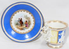 KPM BERLIN PORCELAIN CUP & SAUCER, 19TH C.