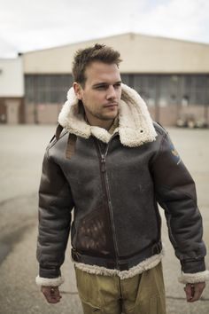 Classic B-3 Sheepskin Leather Bomber Jacket 257S | Outerwear ...