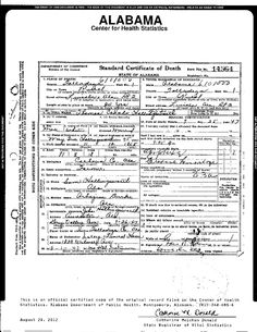 Death Certificate for Thomas Canada Hollingsworth, born November 12, 1865, died July 25, 1947.