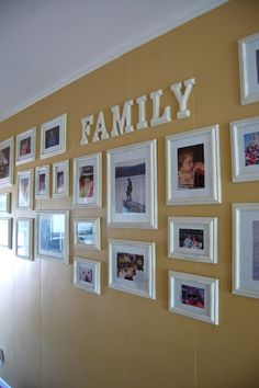 Family Photo Wall easy! Just paint walmart letters one color, same as walmart frames! Will do!