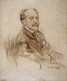 Portrait of José Villegas (Ramon Casas y Carbó - ) Charcoal Portraits, Pastel Portraits, Black And White Portraits, Fine Art Drawing, Guy Drawing, Anatomy Drawing, Ramones, Modernisme, Digital Museum