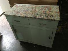 kitchen unit with vintage Paris street map decoupage Vintage Paris, Retro Vintage, 1960s Kitchen, Kitchen Units, Paris Street, Repurposed, Decoupage, The Unit, Map