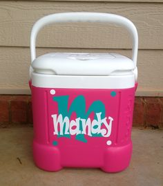 Personalized cooler!  Find at Brooke's Cute Creations on fb